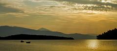 A Yellow Sunrise - Nidri Bay - Lefkas (Greece) (Canon EOS 7D) (markdbaynham) Tags: greece greek hellas hellenic lefkas lefkada grecia greka sky view canon canonite eos 7d eos7d canon7d apsc dslr landscape ionian island greekisland greekholiday