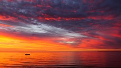 Sunrise over the Sea, Port Clinton, South Australia (Red Nomad OZ) Tags: sea sunrise ocean shore beach sky cloud nature natural outdoor outside australia southaustralia yorkepeninsula portclinton morning light colour drama saariysqualitypictures water skyline skyscape waterscape