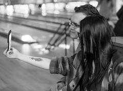 The Selfie Generation (daveseargeant) Tags: selfie bowling alley medway rochester monochrome black white nikon df 50mm 18g