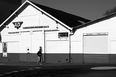 In front of the workshop (pascalcolin1) Tags: nantes france homme man atelier workshop lumière light ombre shadow photoderue streetview urbanarte noiretblanc blackandwhite photopascalcolin 50mm canon50mm canon