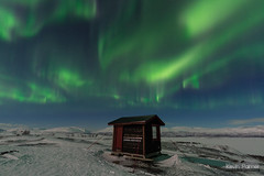 Aurora View Point (kevin-palmer) Tags: björkliden sweden swedishlapland europe arctic march winter cold snow torneträsk frozen lake clear sky scandinavianmountains night stars starry space astronomy astrophotography aurora auroraborealis green blue moonlight moonlit auroraviewpoint cabin hut substorm sigma14mmf18 overlook