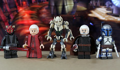 Prequel Trilogy Villains (LegoMatic9) Tags: custom lego star wars prequel trilogy phantom menace attack clones revenge sith general grievous chancellor emperor palpatine jango fett count dooku darth maul sidious tyrannus villains minifigure