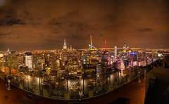 Night view from Top Of The Rock (Mike Snape) Tags: rockefeller rockefellercenter newyork bigapple usa america unitedstates unitedstatesofamerica manhattan topoftherock city skyline night panorama
