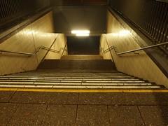 Licht am Ende der Stufen (mkorsakov) Tags: dortmund kley sbahn bahnhof bhf treppe stairs licht light neon leer empty geländer handrail