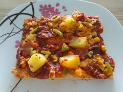 2018-02-18 11.49.48 (Kirayuzu) Tags: essen food selbstgemacht selbstgekocht pizza mais salami speck bacon ananas jalapeno