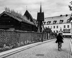 Cyclist in Lund (ramvogel) Tags: sony a6300 bw blackwhite sigma30mmf14 sigma sweden lund cyclist house wall streetphotography street