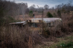 Into the Wild - Tennessee Style. (Mr. Pick) Tags: school bus home house rural tv antenna abandoned tennessee tn