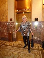 What's Behind The Gold Doors? (Laurette Victoria) Tags: hotel milwaukee pfisterhotel laurette woman dress leggings boots