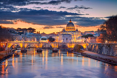 Rome. (Rudi1976) Tags: rome vaticancity italy cityscape architecture basilica street evening sky buildingexterior landmark famous traveldestination travel tourism outdoor city town downtown europe tiberriver historical urbanscene skyline cathedral scenic beautiful aerial capitalcity twilight sunset dusk landscape church religion ancient christianity saintpeterbasilica dome roman illuminated old river riverside bridge archbridge