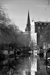 St Mark's / Regent's Canal (Images George Rex) Tags: 01107c6d423149d788a054b1a75436a0 london camden uk thomaslittle churchofstmark anglican gradeiilisted gothicrevival neogothic kentishragstone regentscanal wetreflections narrowboats spire abknappfisher arthurblomfield monochrome bw blackandwhite england unitedkingdom britain imagesgeorgerex photobygeorgerex igr