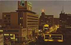 Vintage Postcard - Central Ave.  at Night - Phoenix, AZ (hmdavid) Tags: vintage postcard centralavenue phoenix arizona valleynational firstnational bank neon signs electricalproductscorp epco myersleiber midcentury modern architecture roadside advertising 1950s