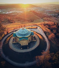 Evening mood (DrQ_Emilian) Tags: sunset sunlight sunshine evening dawn mood light details colors outdoors landscape view aerial building architecture vineyards hills urban town travel visit explore discover grabkapelle stuttgart badenwürttemberg germany europe photography hobby drone djimavic2pro beautiful relaxing hangout place monument old goldenhour mousoleum
