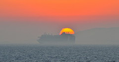 Cruising into the sunset (Explored) (M McBey) Tags: mediterranean sky sea cruise ship sunset sun red nikon d300s 70300mm