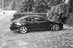 2005 Holden Commodore (Matthew Paul Argall) Tags: canonsnappy20 fixedfocus 35mmfilm blackandwhite blackandwhitefilm 100isofilm kentmere100 car vehicle automobile transportation holden holdencommodore generalmotors sedan familysedan