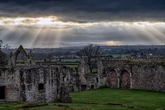 Ruins of Haughmond 2 (jayneboo) Tags: haughmond abbey ruins shropshire shrewsbury landscape history light stairway rays hills spires town
