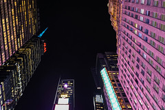 Look Up (Jocey K) Tags: sonydscrx100m6 triptocanadaandnewyork architecture buildings evening illumination billboards timessq nighttourhopandhopoffbus