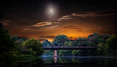 Night On The River (jarr1520) Tags: night sky clouds moon composite textured outdoor light river woods forest water bridge tressel reflections fog mist landscape