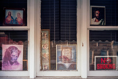 (patrickjoust) Tags: fujica gw690 kodak ektar 100 6x9 medium format 120 rangefinder c41 color negative film manual focus analog mechanical patrick joust patrickjoust highlandtown baltimore maryland md usa us united states north america estados unidos urban street city row house home jesus mary joseph icon religious christian no smoking sign window display pictures crown thorns angels