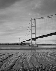 Humber bridge (Andy barclay) Tags: humber bridge suspension tall world longest steel concrete lincolnshire yorkshire hull wanter water sand mud sky blackandwhite monochrome cloudy clouds nikon d7100
