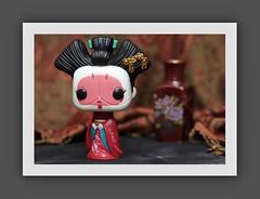 Funko Pop Geisha (N.the.Kudzu) Tags: tabletop stilllife toy funkopop geisha asian vase paisley canondslr canoneflens photoscape frame canon430ex home