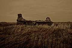 A long long time ago (alan.irons) Tags: bothie cottage butnben orkney isles scotland derelict stone hillside sepia mono bw landscape farming