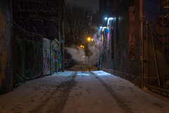 Graffiti Alley (A Great Capture) Tags: agreatcapture agc wwwagreatcapturecom adjm ash2276 ashleylduffus ald mobilejay jamesmitchell toronto on ontario canada canadian photographer northamerica torontoexplore winter l'hiver 2018 city downtown lights urban night dark nighttime cold snow weather steam cityscape urbanscape eos digital dslr lens canon rebel t5i scenery scenic outdoor outdoors outside streetphotography streetscape photography streetphoto street calle darkness nocturnal illuminate lighting graffiti alley public art rush lane