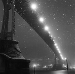 Winter's breath and the St. Johns Bridge (Zeb Andrews) Tags: hasselblad500c kodaktrix stjohnsbridge night portland soonitwillbesnowinginportland winter mediumformat 6x6 oregon pacificnorthwest film
