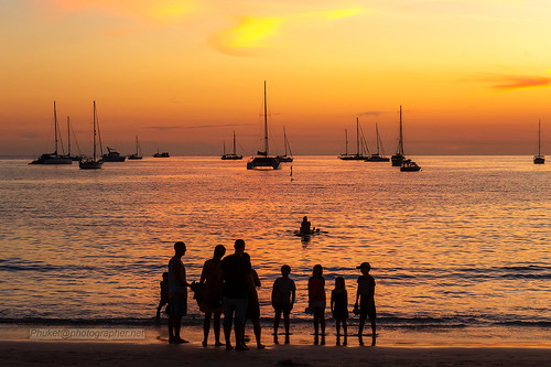 Sunset silhouette, Nai Harn beach, Phuket island, Thailand     XOKA9923bs2 ©  Phuketian.S
