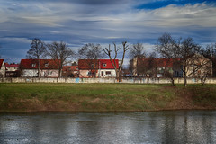 Houses by the river Kupa, Drežnik (malioli) Tags: river riverside riverbank kupa karlovac urban house tre sky clouds croatia hrvatska europe canon hdr