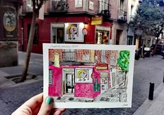 This is still his place: (aniuswalker) Tags: madrid urbansketch watercolor popart roylichtenstein contemporaryart street barriodelasletras