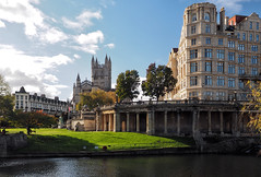 Pretty much the same view (LeftCoastKenny) Tags: england day12 bath riveravon water architecture buildings trees people grass