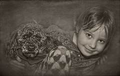 Little Girll and her Dog (jauza1) Tags: kid child enfant children portrait person people girl fille dog chien caniche poodle bw blackandwhite noirblanc