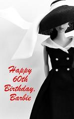 HAPPY 60TH BIRTHDAY BARBIE (ModBarbieLover) Tags: happy birthday 60th barbie doll mattel vintage afterfive fashion toy anniversary black white celebration ponytail swirl