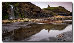 Kimmeridge Falls (jeremy willcocks) Tags: kimmeridgefalls dorset ukjeremywillcocks©2019fujixt3xf1024mm landscape building tower clavells quay waterfall reflections water pebbles england greatbritain wwwsouthwestcsenesmeuk jeremywillcocks