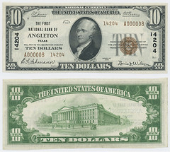 United States $10.00 (ten dollars) national currency (SMU Libraries Digital Collections) Tags: texas money national us united states currency paper banks notes note banknote banknotes chartered bank banking brazoria brazoriacounty angleton