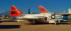 USN Grumman TAF-9J Cougar jet trainer, 1950s - Pima Air & Space Museum, Tucson, Arizona. (edk7) Tags: nikond3200 edk7 2013 us usa arizona tucson arizonaaerospacefoundation pimaairspacemuseum unitedstatesnavy usnavy usn grummantaf9jcougar af9j sn141121f9f8b1950s singleseat trainer aircraft airplane plane aviation military jet fighter bomber coldwar koreanwar prattwhitneyj48p8acentrifugalcompressorturbojet7250lbf