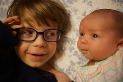 (patrickjoust) Tags: sony a7 digital camera manual focus lens domestic home kid child patrick joust patrickjoust baltimore maryland md usa us united states north america estados unidos llewelyn geneva brother sister boy girl baby glasses smile bed
