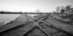 Crossed Paths (Kirby Wright) Tags: madison wisconsin dane county john nolen railroad tracks train crossed paths criss cross black white lake monona long exposure april 2019 nikon d700 1735 f28 wide angle zoom barren trees spring grey sunset symmetry manfrotto tripod sky capitol skyline