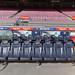 Trainerbank des FC Barcelona (Spanien) in Europas größtem Stadion Camp Nou, von Rakuten gesponsert