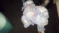 Filling up my diaper genie with dirty really full diapers! (tomthetrasher) Tags: diapers dirtydiaper trash