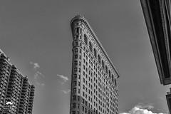 Landing Between (allentimothy1947) Tags: 23rdst flatironbuilding manhattan newyorkstate archtecture bw building decorative detail highrise historic newyorkcity skyscraper top windows