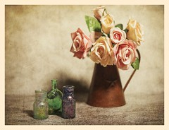 Depression Era bottles and Vase with Flowers (N.the.Kudzu) Tags: tabletop stilllife depressionglass bottles metal vase flowers canoneosm 7artisans25mmf18 2lilowls lightroom preset photoscape