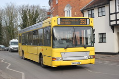 Trustybus has been shopping ( again ) . (AndrewHA's) Tags: hertfordshire bishopsstortford bus trustybus galleon travel roydon essex dennis dart slf alexander pointer sn55hsg route 351 hertford second hand manchester airport transdev yellow buses bournemouth