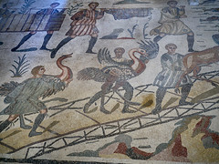 Romans with large birds (peter.a.klein (Boulanger-Croissant)) Tags: sicily italy villacasale roman ancient archaelogy villa 4thcentury mosaics art hunting expedition africa men bird