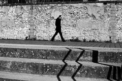 Against the old wall (pascalcolin1) Tags: nantes homme man mur wall ombre shade marches steps lumière light lignes lines photoderue streetview urbanarte noiretblanc blackandwhite photopascalcolin 50mm canon50mm canon