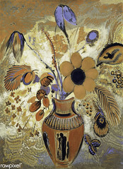 Etruscan Vase with Flowers by Odilon Redon (Free Public Domain Illustrations by rawpixel) Tags: art arts artwork beautiful bloom blossom bouquet canvas classic decor decoration drawing etruscan etruscanvase floral flower flowers french fresh illustration interior natural odilonredon painting poster redon retro spring stilllife style summer tempera vase vintage yellow