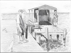 Posing on the Fishing Pier with Egret (Pine Island, FL) (Numinosity (Gary J Wood)) Tags: drawings pencildrawings