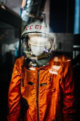 Gagarin's Space Suit (justingreen19) Tags: airandspacemuseum cccp dc districtcolumbia gagarin russia sk1 smithsonian space spacerace spacesuit themall washington washingtondc yurigagarin astronaut cosmonaut justingreen19 orange pressuresuit protective russian vostok
