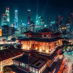 Singapore Buddha Tooth Relic Temple (Beboy_photographies) Tags: singapore singapour asie asian asiatic buddha tooth relic temple cityscape urban urbain paysage ville city night dark moody tones beboypresets beboy buildings skyscrapers chinese