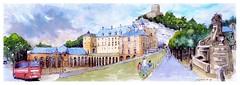 La Roche Guyon - France (guymoll) Tags: googleearthstreetview larocheguyon croquis sketch normandie france aquarelle aguarela acuarela watercolour watercolor panoramique panoramic château échâteau fort castle castelo